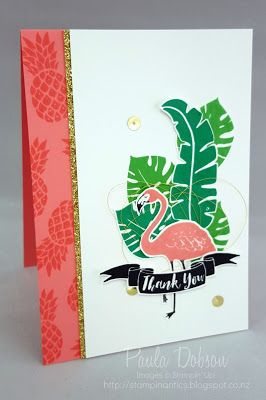 Paula Dobson - Stampinantics, Pop of Paradise Flamingo sneak peek. Click on the picture to see more of Paula's projects. #pauladobson #stampinantics #stampinup