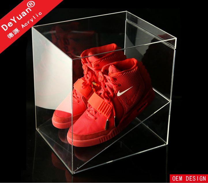 De alta calidad caja de zapatos nike acrilico transparente/caja de zapatos acrilico personalizados