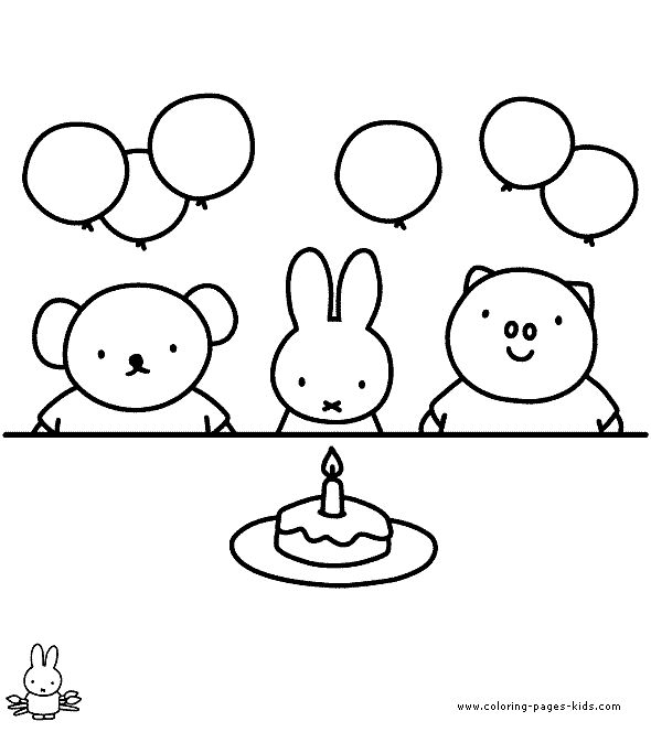 Free Miffy coloring pages for party activity or for making placemats the kids can color.