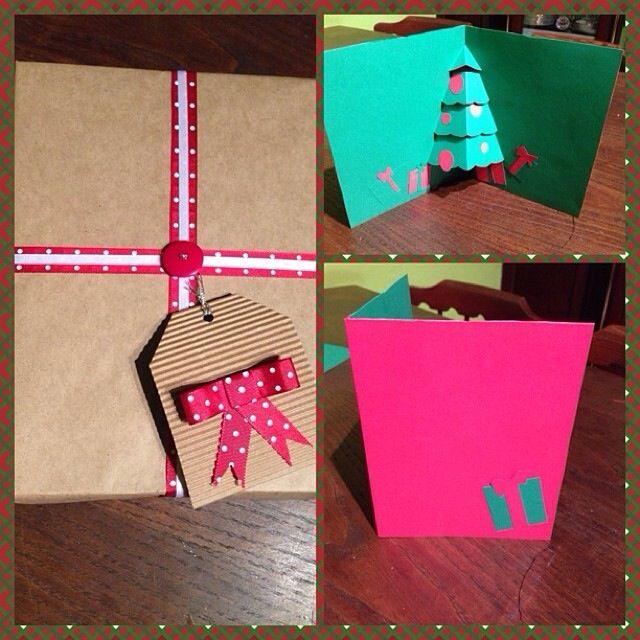 Envoltorio de regalo y postal de navidad