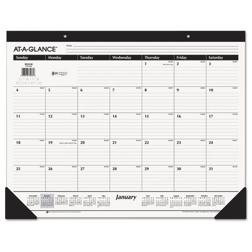 Desk pad with classic styling and ruled blocks helps protect your desktop. 12 month desk pad covers January - December for a full year of planning power. Julian dates One month per page layout lets you view all your monthly plans at once. Large, ruled daily blocks provide plenty of room for notes. Each block is 2.88 in. x 2.38 in. Printed on quality paper containing 30% post-consumer recycled material. Page size: 21-3/4 x 16 inches. Overall size: 21.75 x 17 inches.
