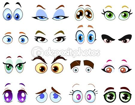 How To Draw Cartoon Animals With Big Eyes   Cartoon eyes   Stock Vector © Yael Weiss #3718179