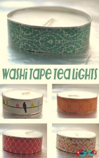 15 DIY Washi Tape Wedding Ideas | Confetti Daydreams - DIY Washi Tape Tea Lights. Get the DIY tips here! ♥ #WashiTape #Washi #DIY #Wedding ♥  ♥  ♥ LIKE US ON FB: www.facebook.com/confettidaydreams ♥  ♥  ♥
