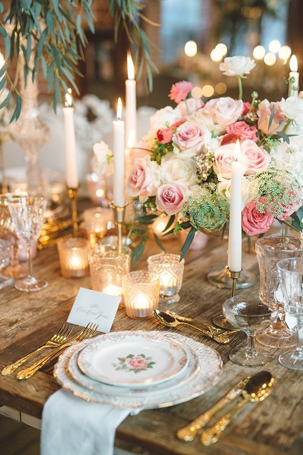 A Lush Romantic Scene Has All The Right Ingredients For A Vintage Glam Wedding Shoot Dripping Vintage Glam Wedding Wedding Table Settings Vintage Wedding Theme