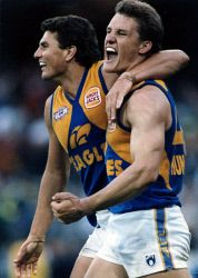 20th Anniversary of the West Coast Eagles winning the 1994 AFL Premiership - Peter Sumich (l) and Glen Jakovich celebrate. This image and many more available to purchase at www.westpix.com.au. Pic by Rod Taylor / WA News. KGM-0021773 © WestPix