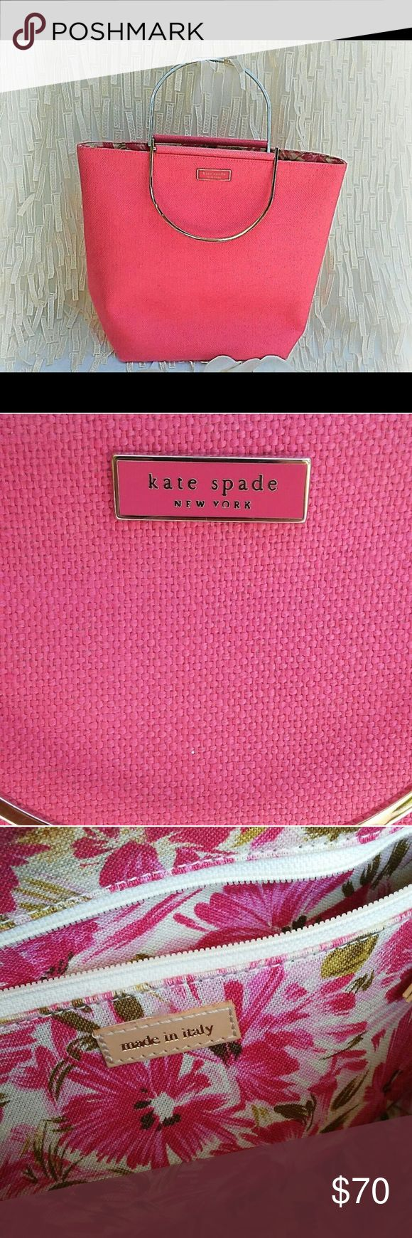 """Kate Spade linen tote Palm Beach punk Kate Spade tote in perfect condition.  Handle drop is 3.75"""".10.75"""" high. 12.5"""" wide x 4.5"""" deep. kate spade Bags Totes"""