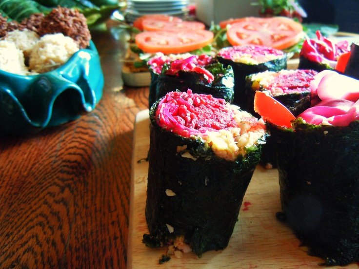 Nori rolls with macaroons and flatbread sandwiches amongst other vegan delights.