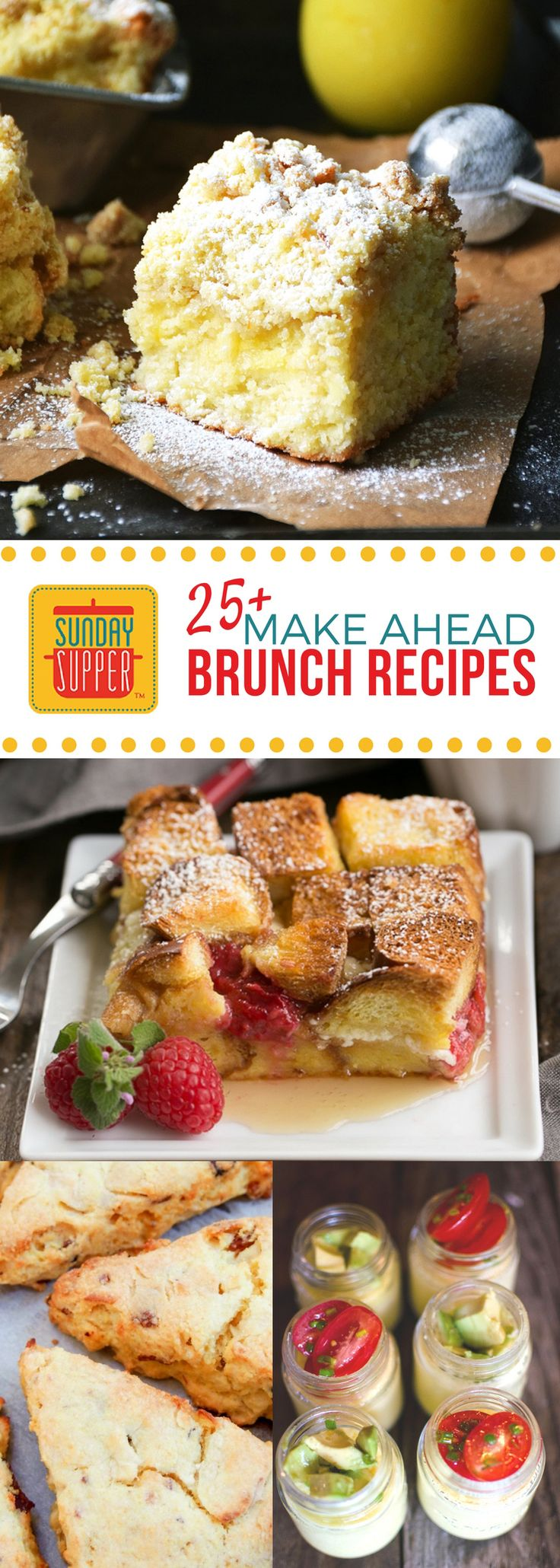 Make Ahead Sunday Supper Brunch Recipes, this list of #SundaySupper recipes is perfect for when you want to throw a brunch and sleep in! Whether you prefer sweet or savory brunch recipes this collection has something for everyone!