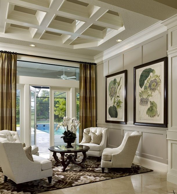 Upscale Coastal, beach home decor living room sitting area. Great curtains,  love 4 - 61 Best Images About Furniture Arrangement - Four Chairs On