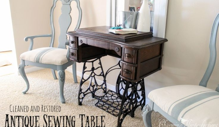 Sigh* these antique sewing tables are so lovely with their cast iron legs and detailing.