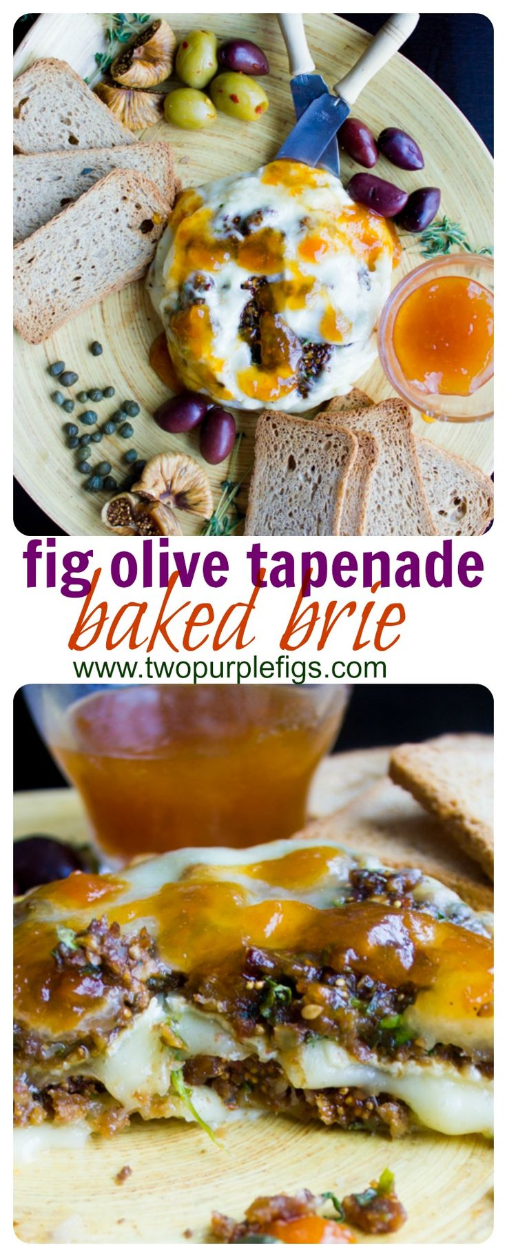Fig Olive Tapenade Stuffed Brie. A 5 min fig olive balsamic caper tapenade that stuffs and tops a whole round of brie, baked for 8 mins for an impressive addictive easy last minute appetizer! www.twopurplefigs.com