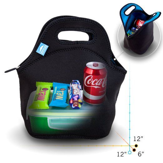 Amazon.com: Insulated Neoprene Lunch Set: Lunch Bag + Water Bottle Sleeve | Lightweight With Rugged Zipper & Space for Larger Lunches | Washable, Nontoxic, Black with Camo Interior by Nordic By Nature: Kitchen & Dining