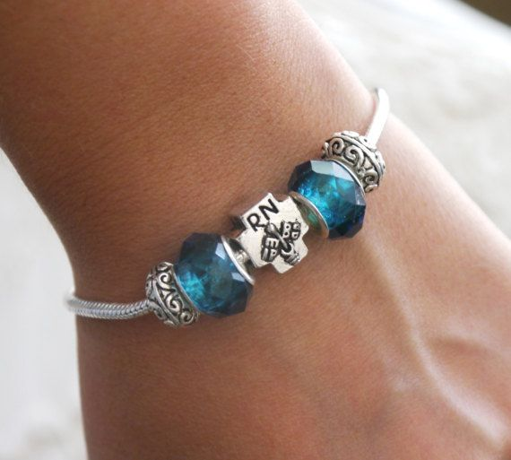 RN Bracelet, Personalized RN Bracelet,RN Gifts, Birthstone Bracelet, European Style, Registered Nurse Gifts, Registered Nurse Jewelry by MadiesOtherCharms