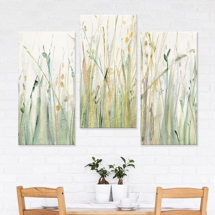 artissimo designs spring grasses i canvas wall art 3 piece on canvas wall art id=22591