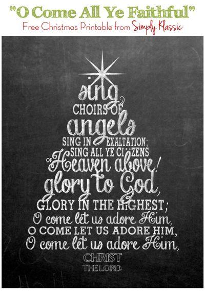 """Free Chalkboard Christmas Printable """"O Come All Ye Faithful"""""""