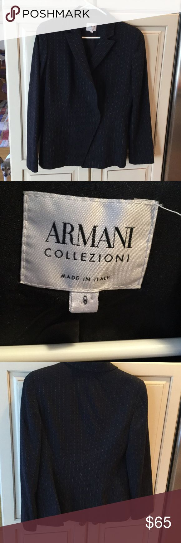 Vintage Armani Collezione Blazer Jacket sz 8 Fully lined. Black with broken white pinstripe.  Internal buttons/ hook closure. Wool blend.  Notched lapel. Matching skirt and pants soon to be listed. Vintage 80s. Very nice vintage shape Jackets & Coats Blazers