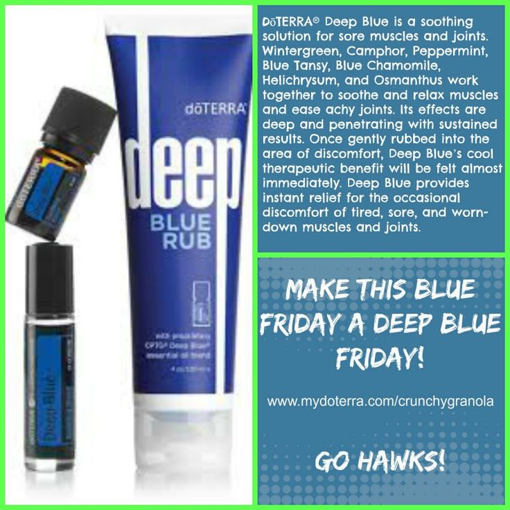www.mydoterra.com/crunchygranola I love to layer deep blue with frankincese and peppermint for an instant ice pack effect.
