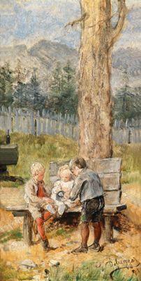 Franz von Defregger - Franzl, Hansl und Friedl 1891