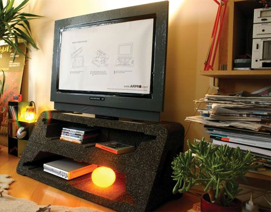 Choosing The Right Creative TV Stand Ideas For Our TV Room: TV Packaging  Turns Into Tv Stand Tom Ballhatchet ~ Furniture Inspiration Part 44