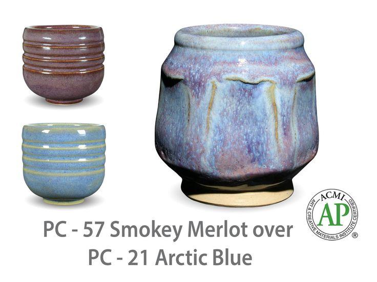 AMACO Potter's Choice layered glazes PC-21 Arctic Blue and PC-57 Smokey Merlot.