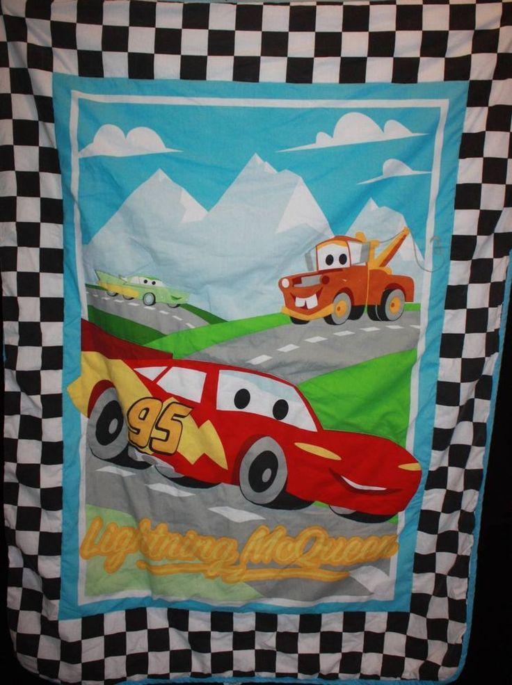Disney Cars Blanket Lightening McQueen Tow Checkered Toddler Bed Comforter Size #DisneyPixar