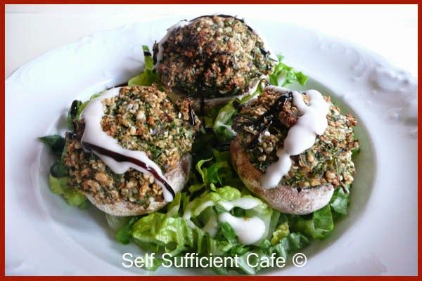 Self Sufficient Cafe: Winter Wellness - Part 2  Loaded Mushrooms