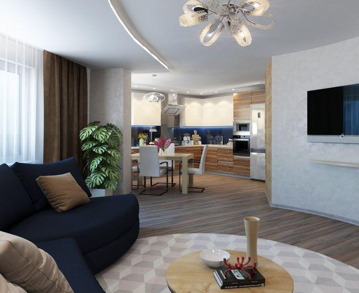 Дизайн-проект в 2к. квартире в #ЖК_Лазурный_Успех. (68 м.кв).  Пожеланием заказчика был просторный зал, поэтому гостиную объединили с кухонной зоной, но это не единое пространство, кухня получилась в отдалении. Изгиб дивана повторяет узор на потолке, барная стойка за диваном. Спальня лаконична, выдержана в стиле гостиной. Объединение с лоджией позволило организовать полноценное рабочее место, установить туалетный столик. Ванная с песочной плиткой, шоколадной мозаикой.    Сайт…
