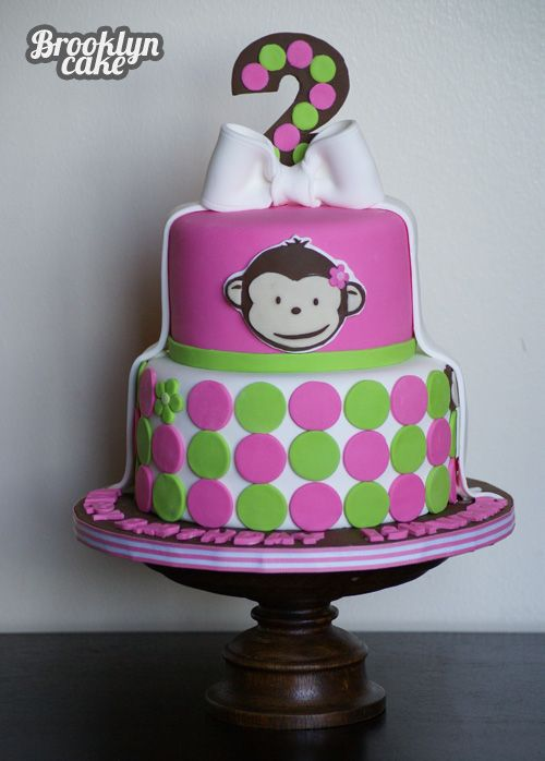 Pink Mod Monkey Cake - Brooklyn Cake