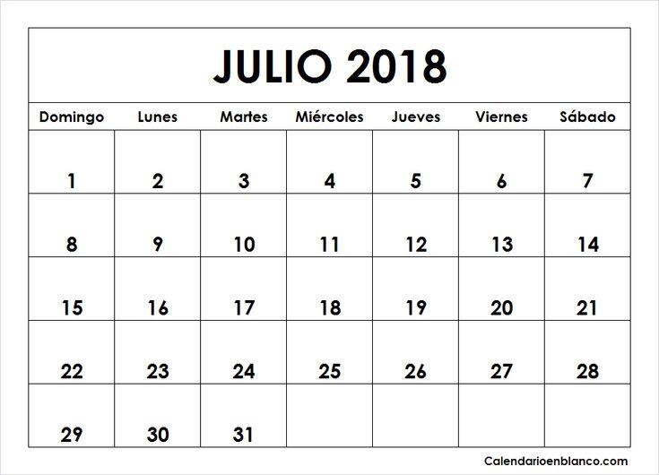 Calendario Julio 2018 Para imprimir