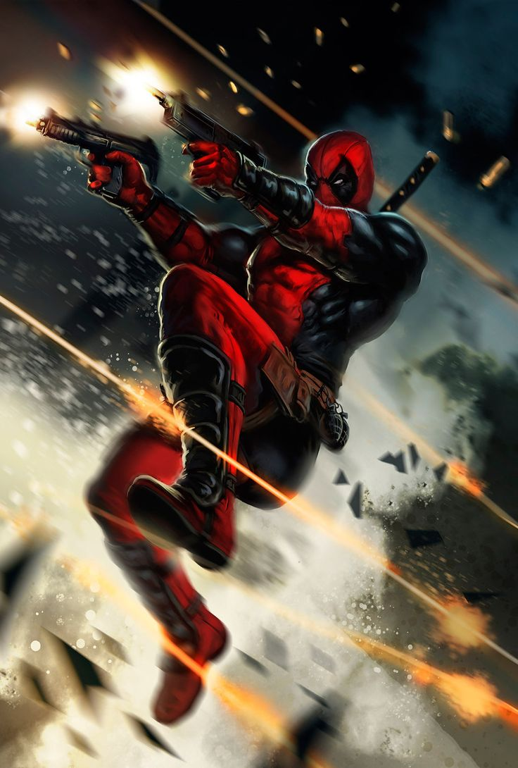 Because if it's not a shower of bullets, it's just not Deadpool. via CyberWolf & dleoblack.deviantart.com
