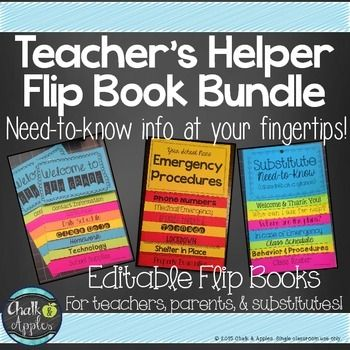 All of my Teacher's Helper Flipbooks in one Bundle!These flip books keep important information in an easy to find format. Class policies & information for back to school, emergency procedures, and substitute information at-a-glance!Print on brightly colored paper and hang in a prominent location or distribute to parents.