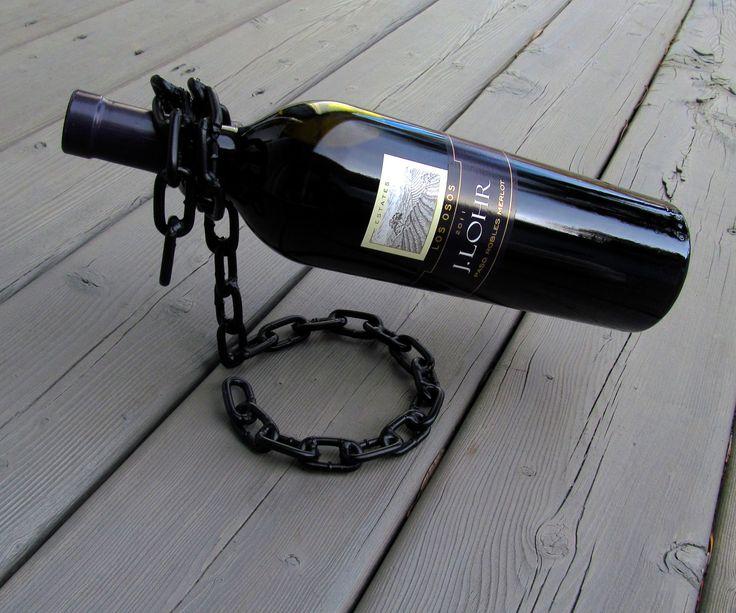 Floating chain wine bottle holder wine bottle holders for Cool wine bottle ideas