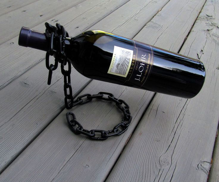 """Floating"" Chain Wine Bottle Holder"