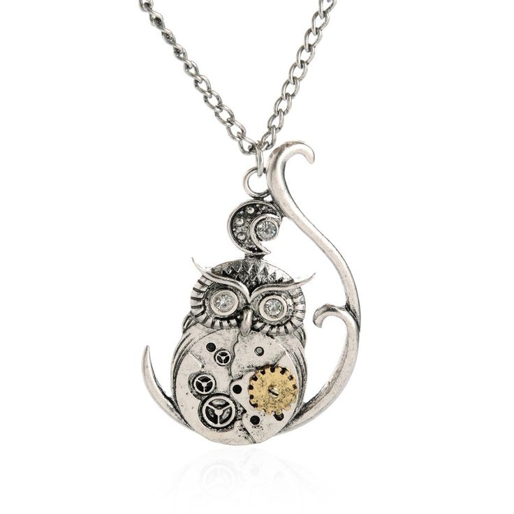 This adorable owl is perched upon a lovely artistic branch featuring mechanical gears and a small moon.