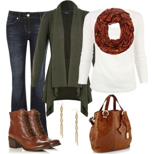 Jeans paired with a plain top, vibrant infinity scarf and matching purse and boot.