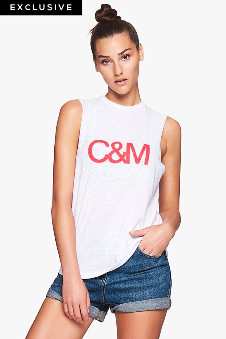 EXCLUSIVE C&M Camilla and Marc Classic Muscle Tank in White and Candy
