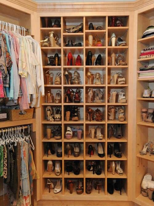 shoe section in a walk-in closet
