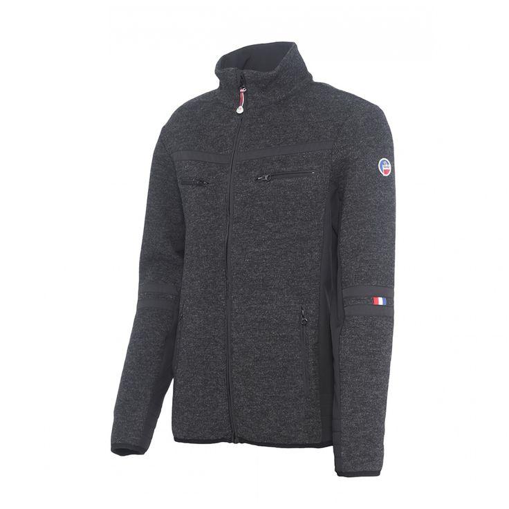 Veste tricot contrecollée polaire ou Softshell Bassy #fusalp #bassy #veste #apresski #jacket #noir #man
