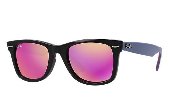 γυαλιά ηλίου Ray Ban RB 2140 11744T Unisex μαύρο Wayfarer ροζ καθρέφτης | LoveShopping