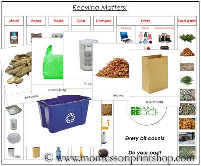 Recycling Matters Sorting Cards - Printable Montessori Science Materials for Montessori Learning at home and school.