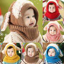 Venda quente de inverno criança crianças meninos meninas quente touca de lã capa cachecol cachecóis Caps chapéus(China (Mainland))
