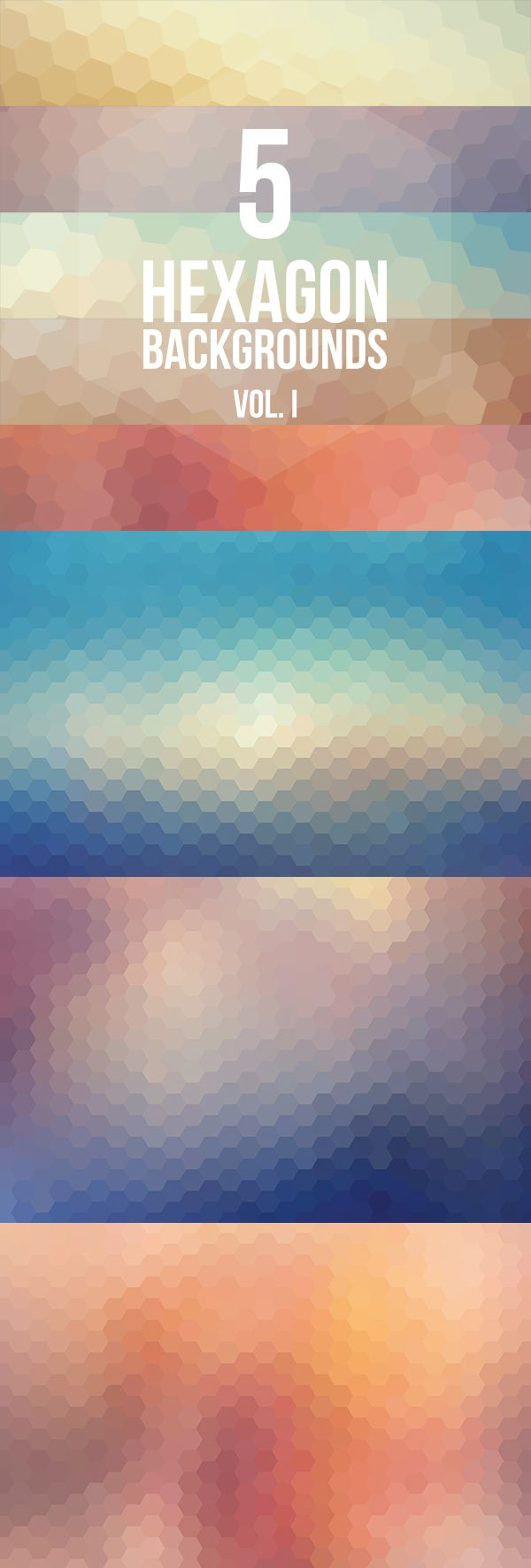 5 Hexagon Backgrounds. #free #download #design