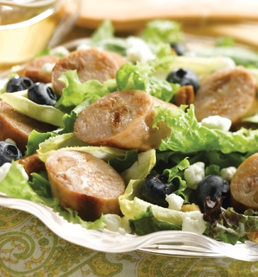 Paleo Sweet Apple Chicken Sausage, Endive, & Blueberry Salad with Toasted Pecans