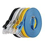 #8: Cat 6 Ethernet Cable 10ft ( 5 PACK ) (At a Cat5e Price but Higher Bandwidth) Flat Internet Network Cable - Cat6 Ethernet… #tech #ad