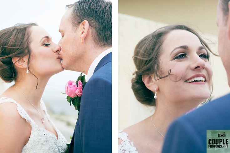 Romantic photos of the bride & groom on Dollymount Strand. Weddings at Clontarf Castle Hotel by Couple Photography.