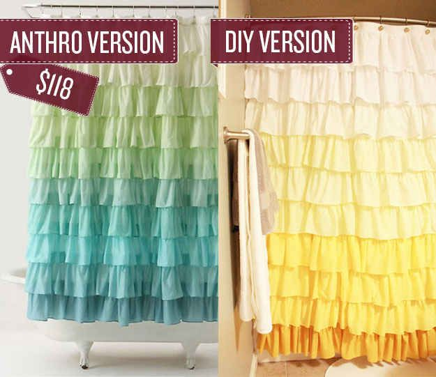 Make an equally delightful shower curtain for much less, following these directions.    The same technique could be applied to create regular window curtains.