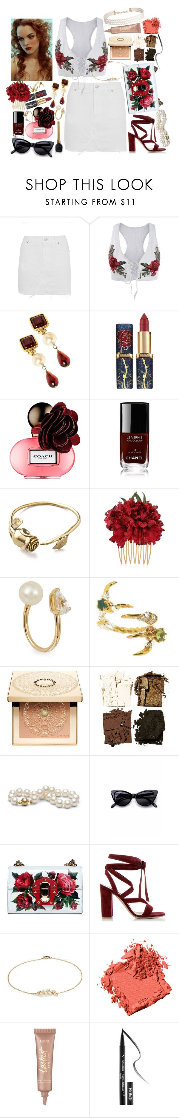 """Grigio Girls - Lady Gaga"" by leo8august ❤ liked on Polyvore featuring Topshop, Chanel, Coach, Monserat De Lucca, Dolce&Gabbana, Anissa Kermiche, Tessa Metcalfe, Clarins, Illamasqua and Retrò"