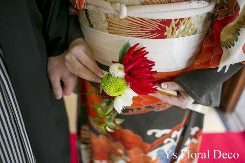 鮮やかな色打掛にあわせる 扇子ブーケ&胸元飾り&ヘッドドレス ys floral deco @国立博物館