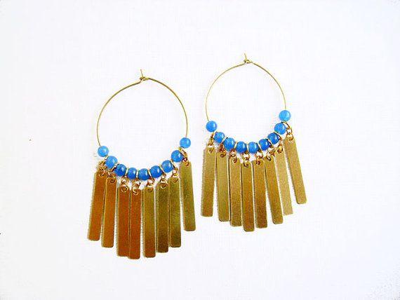 Fringe oorbellen, gouden hoepel oorbellen met blauwe Jade, Boho verklaring oorbellen