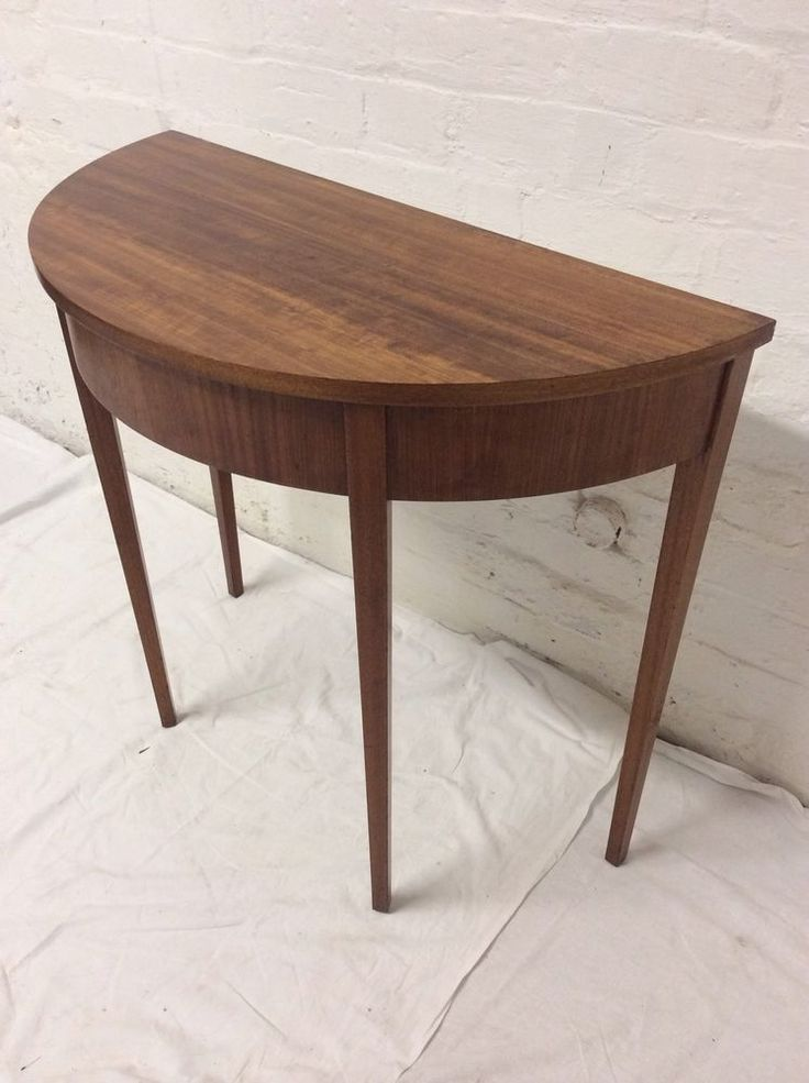Fine Mid Century Walnut Half Moon Console Table With Drawer